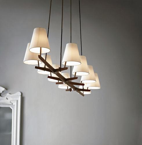 lampadario moderno / in metallo / in seta / in quercia