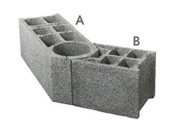 blocco di calcestruzzo forato / per muro / d'angolo / con posa a giunto sottile