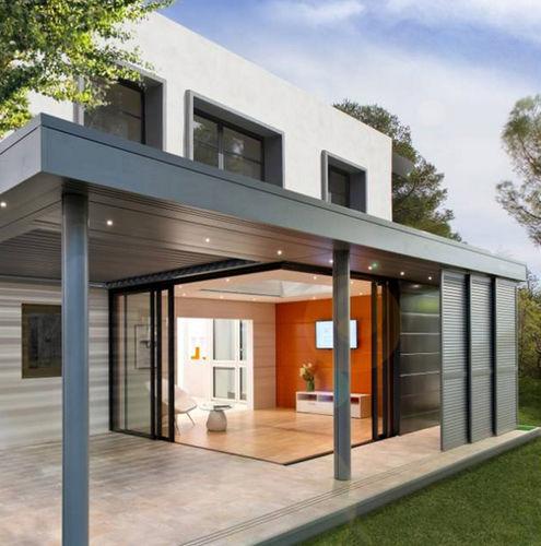 veranda in vetro / in alluminio / con persiana avvolgibile integrata