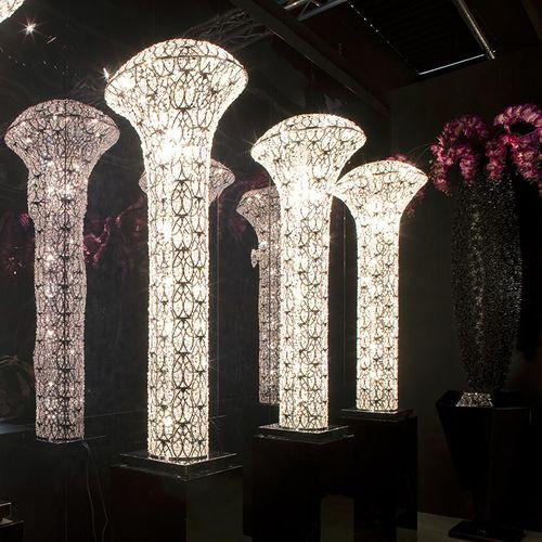 lampada da terra / design originale / in acciaio inossidabile / in cristallo