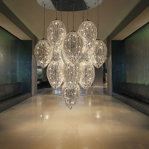 lampadario design originale / in cristallo / in acciaio inossidabile / LED