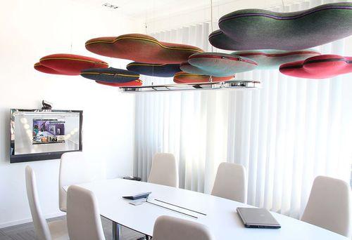 pannello acustico per soffitto / in tessuto / a doppia faccia / per ufficio