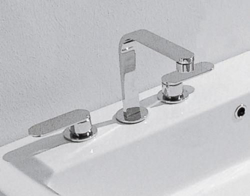 miscelatore doppio comando per lavabo / da appoggio / in ottone / in metallo cromato