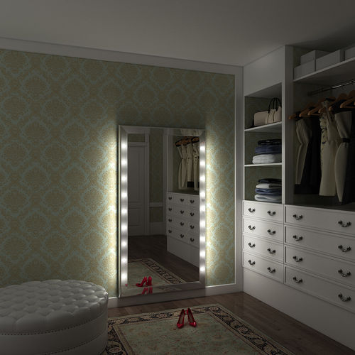 specchio a muro / luminoso / da sala / per camera da letto