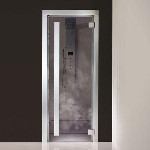 porta da interni / battente / in alluminio / in vetro temprato