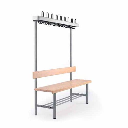 panca moderna / in faggio / in acciaio / con schienale