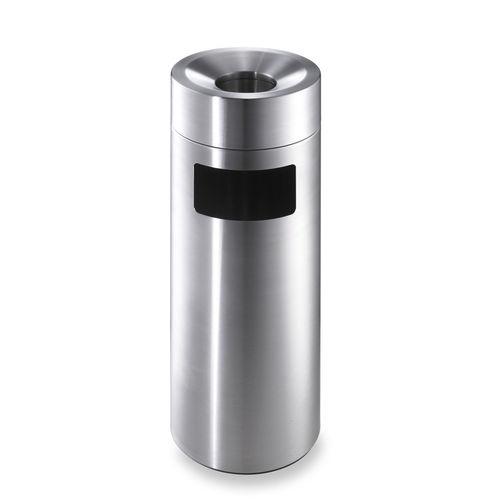 pattumiera pubblica / in acciaio inox / con portacenere integrato / moderna