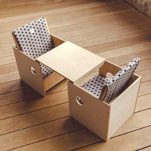 set tavolo e sedia moderno / in legno / per bambini / da interno