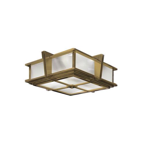 plafoniera Art Deco / quadrata / in vetro / in ottone