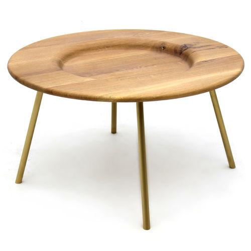 tavolino basso moderno / in frassino / in metallo laccato / tondo