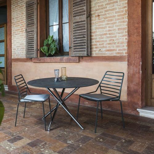 tavolo moderno / in alluminio / tondo / da esterno