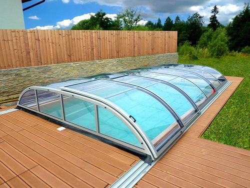 copertura per piscina bassa / scorrevole / in alluminio / in policarbonato