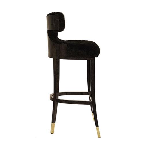 sgabello da bar classico / in legno / in lana / imbottito
