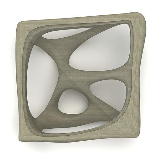 tavolino basso design organico / in vetro / in frassino / quadrato