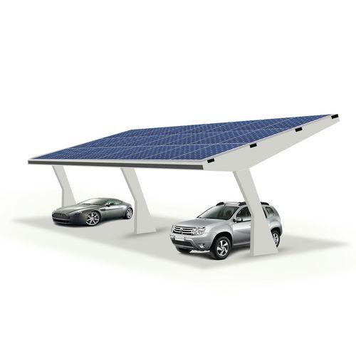 tettoia per posto-auto in metallo / per parcheggio / con pannelli fotovoltaici integrati