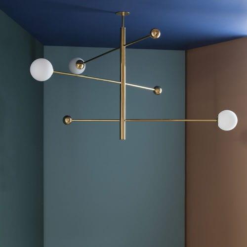 lampadario moderno / in vetro soffiato / in ottone / in ottone lucidato