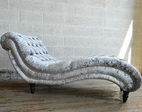 chaise longue chesterfield / in tessuto / in legno