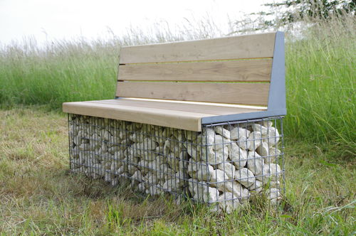 Panca pubblica / da giardino / moderna / in acciaio galvanizzato MOBILIER EVOL ID GABION - L'AGENCE URBAINE