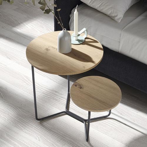 comodino moderno / in metallo / in quercia / impiallacciato in legno