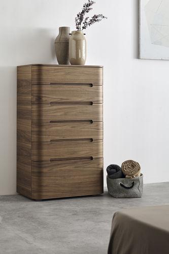 cassettone alto / moderno / in noce / impiallacciato in legno