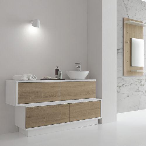 mobile lavabo da appoggio / in legno laccato / moderno / con cassetti