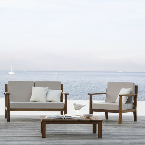 divano moderno / da giardino / in tessuto / in iroko