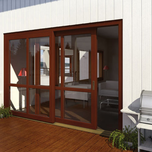 vetrata scorrevole / in PVC / a doppi vetri / a isolamento termico