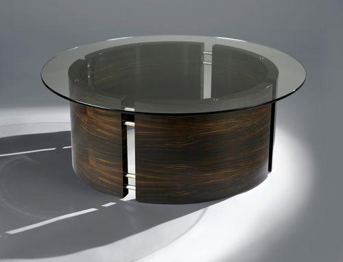 tavolino basso moderno / in ebano di macassar / in vetro / in acciaio inossidabile