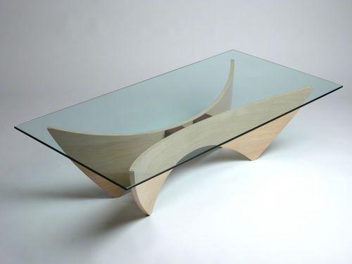 Tavolino basso moderno / in acero / in vetro / rettangolare PEGASUS  David Tragen