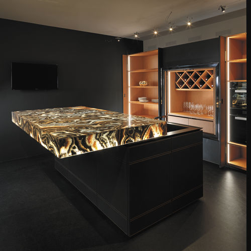 Piano di lavoro design originale / in onice / da cucina CORAL BLACK LIVING AREA Elite Stone