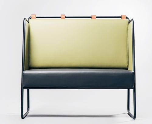 divanetto imbottito modulare / moderno / in pelle / con schienale alto