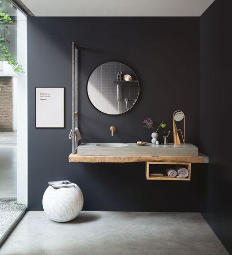 mobile lavabo a muro / in legno massiccio / in calcestruzzo / moderno