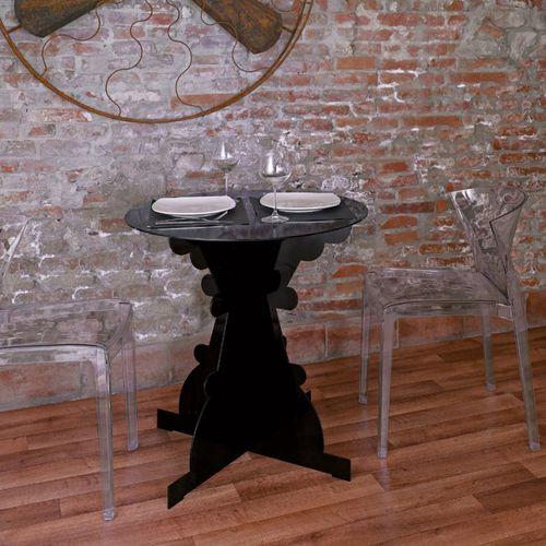 tavolo moderno / in lamiera / tondo / nero
