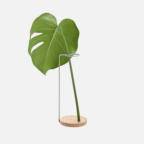 vaso design originale / in acciaio / in frassino