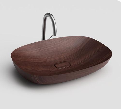 lavabo da appoggio / ovale / in legno / moderno