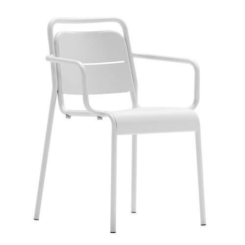 sedia moderna / con braccioli / impilabile / in acciaio verniciato