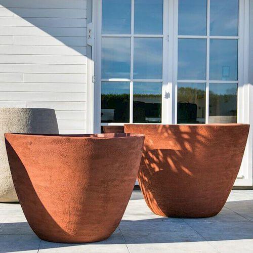 vaso da giardino in terracotta / da appoggio / tondo / conico