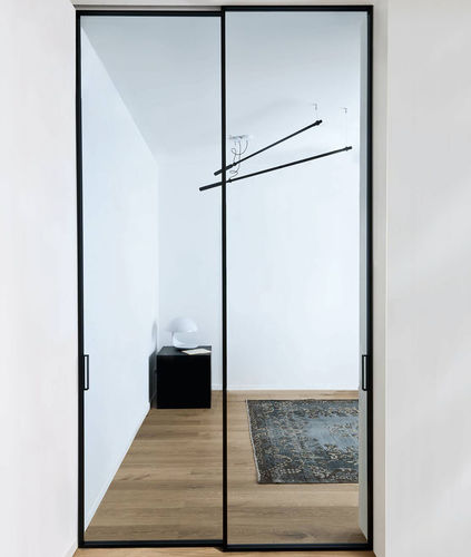 porta da interni / scorrevole / in alluminio / vetrata