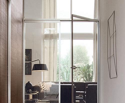 Porta interna / battente / in alluminio / vetrata QUADRA ALBED