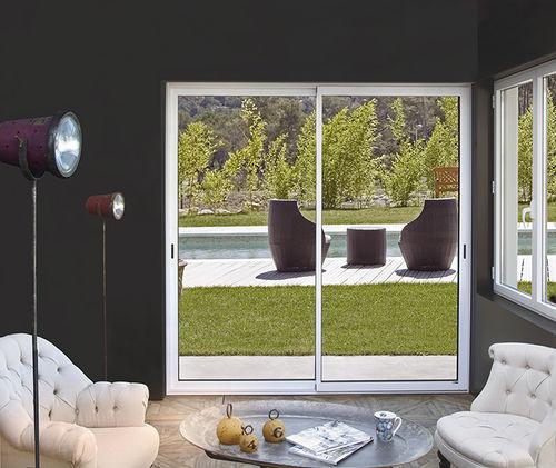 vetrata scorrevole / in alluminio / a doppi vetri / acustica
