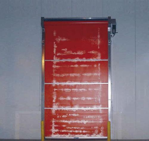 porta industriale avvolgibile / in PVC / automatica / a prova di vento