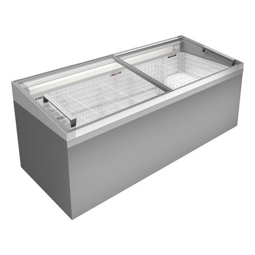 congelatore a pozzetto / professionale / vetrato / grigio