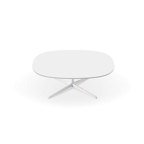 tavolino basso moderno / in MDF / in alluminio / tondo