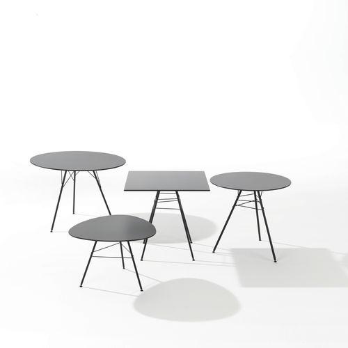 tavolo moderno / in acciaio / in HPL / tondo