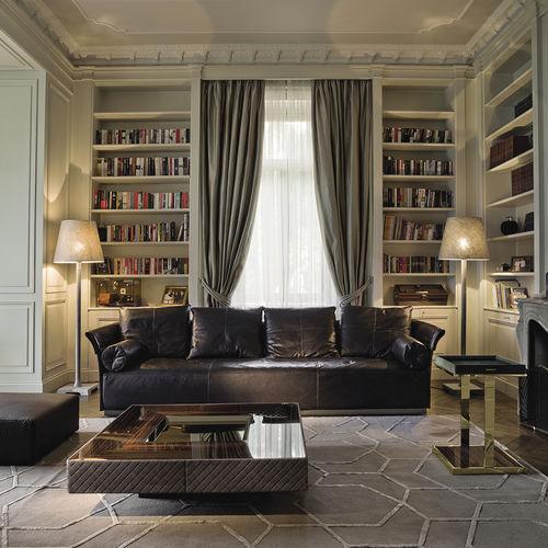 divano moderno / in pelle / in tessuto / 4 posti