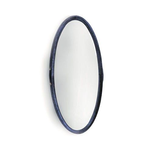 specchio a muro / moderno / ovale / in pelle