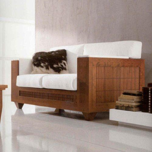 divano moderno / in legno / 2 posti / bianco
