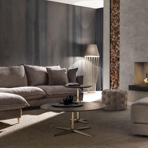 tavolino basso moderno / in ottone / in granito / tondo