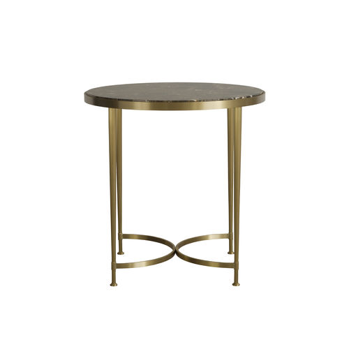 tavolo d'appoggio moderno / in ottone / in marmo / tondo