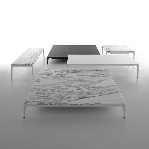 tavolino basso moderno / in alluminio laccato / in resina / rettangolare